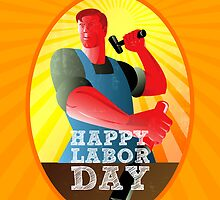 God bless our workers Happy Labor Day Retro Poster by patrimonio