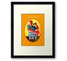 God bless our workers Happy Labor Day Retro Poster Framed Print