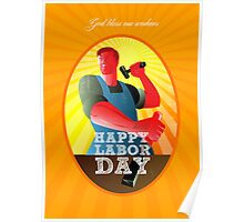 God bless our workers Happy Labor Day Retro Poster Poster