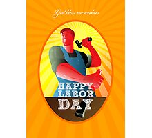God bless our workers Happy Labor Day Retro Poster Photographic Print