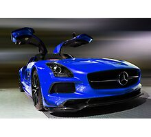 Blue 2014 MERCEDEZ BENZ SLS AMG Photographic Print