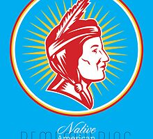 Remembering Native American Day Retro Poster Card by patrimonio