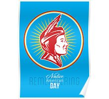 Remembering Native American Day Retro Poster Card Poster