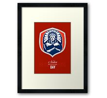 Remember Native American Day Retro Poster Card Framed Print