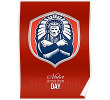 Remember Native American Day Retro Poster Card Poster