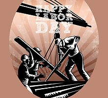 Happy Labor Day Celebration Retro Greeting Card by patrimonio