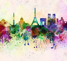 Paris skyline in watercolor background by Pablo Romero