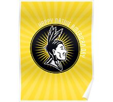 Native American Day Celebration Retro Greeting Card Poster
