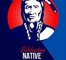 Celebrating Native American Day Retro Greeting Card by patrimonio