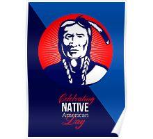 Celebrating Native American Day Retro Greeting Card Poster