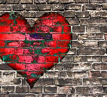 heart on the old broken brick wall by siloto