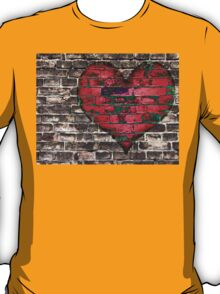 heart on the old broken brick wall T-Shirt