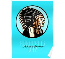 Honoring Native American Day Retro Greeting Card Poster