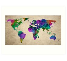 MAP of the WORLD ANTIQUE Art Print
