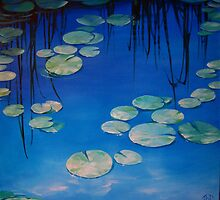 Still Waters with Lilypads by Jane Delaford Taylor