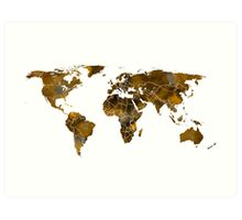 MAP of the WORLD SEPIA TONED Art Print