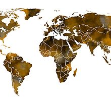 MAP of the WORLD SEPIA TONED by Daniel-Hagerman