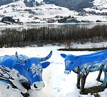 Swiss mountain-cows by Arie Koene