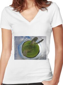 Beltany Stone Circle, Donegal Women's Fitted V-Neck T-Shirt