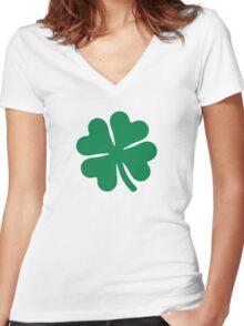 Green shamrock Women's Fitted V-Neck T-Shirt