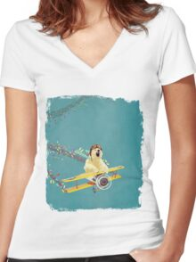 Bear likes Candy Women's Fitted V-Neck T-Shirt