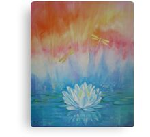 Lotus with dragonflies Canvas Print