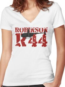 R44 Women's Fitted V-Neck T-Shirt