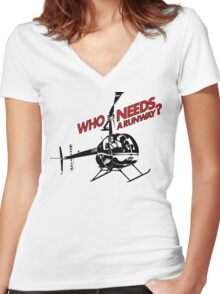 Who Needs a Runway? Women's Fitted V-Neck T-Shirt