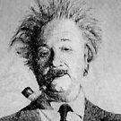 Einstein portrait - Fingerprint drawing by nicolasjolly
