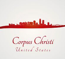 Corpus Christi skyline in red by Pablo Romero
