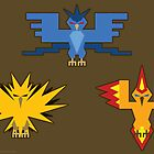 Legendary Birds: Articuno, Zapdos and Moltres by Gefemon2