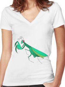 Cute Praying Mantis Women's Fitted V-Neck T-Shirt