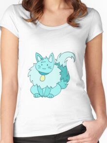 Fluffy Ice Kitty Women's Fitted Scoop T-Shirt