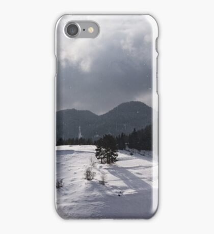 Snowstorm in the Sun - Dancing Snowflakes, Moody Clouds, Long Shadows iPhone Case/Skin