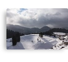 Snowstorm in the Sun - Dancing Snowflakes, Moody Clouds, Long Shadows Canvas Print