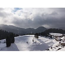 Snowstorm in the Sun - Dancing Snowflakes, Moody Clouds, Long Shadows Photographic Print