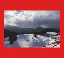 Snowstorm in the Sun - Dancing Snowflakes, Moody Clouds, Long Shadows Kids Tee