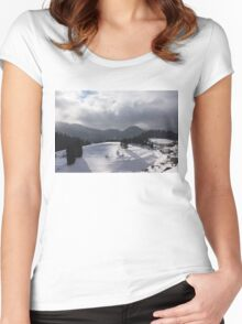 Snowstorm in the Sun - Dancing Snowflakes, Moody Clouds, Long Shadows Women's Fitted Scoop T-Shirt