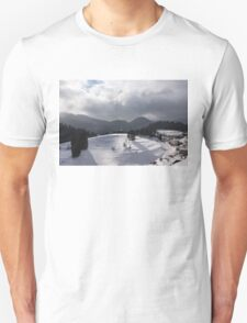 Snowstorm in the Sun - Dancing Snowflakes, Moody Clouds, Long Shadows Unisex T-Shirt