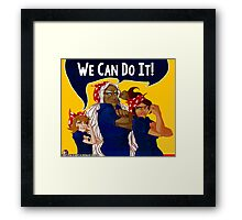 We Can Do It! - Dangan Ronpa - Propaganda Aoi, Sakura, & Chihiro Framed Print