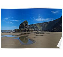 Smooth sandy beach with cliffs and blue sky Poster