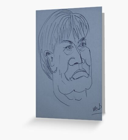 Man With Strong Features Drawing Greeting Card