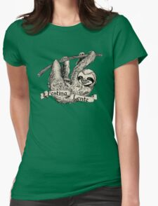 Festina Lente Three-Toed Sloth Womens Fitted T-Shirt