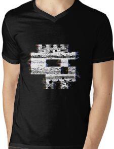 Glitch Skull Mens V-Neck T-Shirt