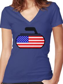 USA Curling Women's Fitted V-Neck T-Shirt