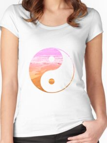 Yin & Yang (pink sky) Women's Fitted Scoop T-Shirt