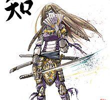 Zelda in Samurai armor with Japanese Calligraphy by Mycks