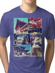 Nara Japan Todai-ji Deer Park Buddha Autumn Collage Tri-blend T-Shirt