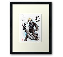 Cloud from Final Fantasy game with Japanese calligraphy Framed Print