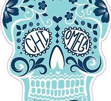 chi omega blue skull by ngrande